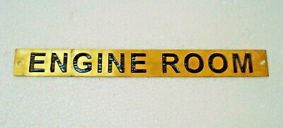 ENGINE ROOM – Marine BRASS Door Sign -  Boat/Nautical - 9 x 1 Inches (187)