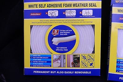 1X SELF ADHESIVE FOAM WEATHER STRIP  WINDOWS/ DOORS,white. Delivery is FREE POST
