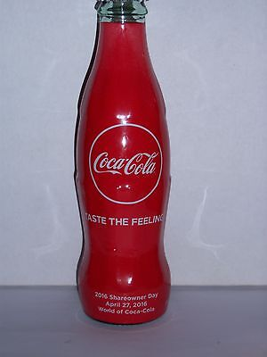 8 Oz Coca Cola Commemorative Bottle - 2016 Coca Cola Share Owner Day 4/27/2016