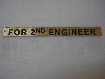 FOR 2ND ENGINEER  – Marine BRASS Door Sign -  Boat/Nautical - 0 x 1 Inches (202)