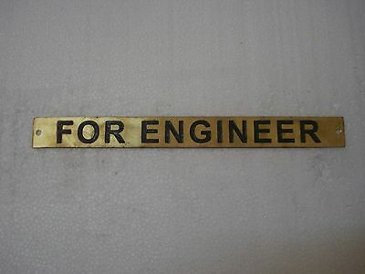 FOR ENGINEER – Marine BRASS Door Sign -  Boat/Nautical - 10 x 1 Inches (210)