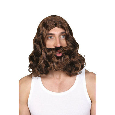 Mens Jesus Wig & Beard Outfit Accessory for Fancy Dress Mans Male