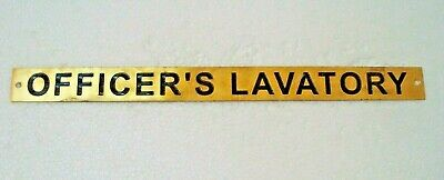 OFFICER`S LAVATORY  – Marine BRASS Door Sign -  12 x 1 Inches (249)