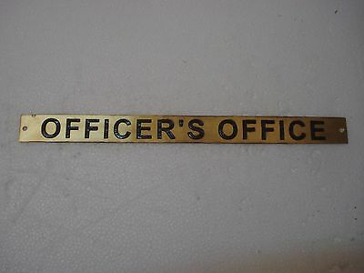 OFFICER'S OFFICE  – Marine BRASS Door Sign -  Boat/Nautical -12 x 1 Inches (258)