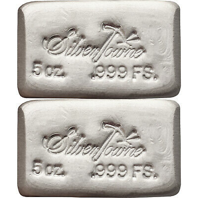 SilverTowne Hand-Poured 5oz .999 Silver Bars LOT OF 2