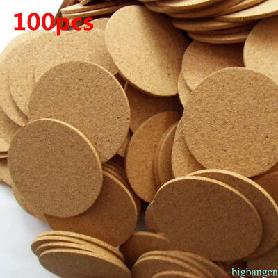 100PCS 9cm Natural Plain Cork Coasters Round Heat Pads Drink Wine Mug Glass Mats