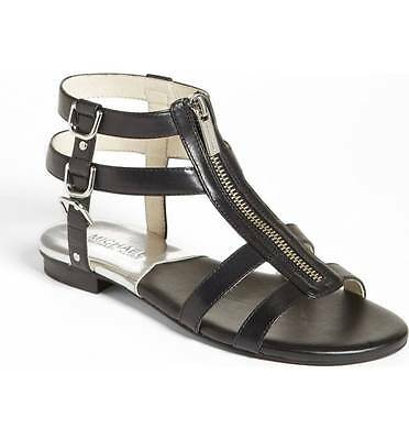 e6f6b901a0576 Michael Kors Women s Black Kennedy Flat Leather Gladiator Sandal 1886 Size  ...