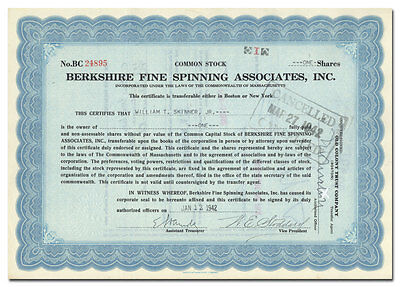 Berkshire Fine Spinning Assoc Inc. Stock Certificate (Became Berkshire Hathaway)