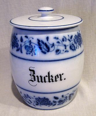 "Large German Blue Onion 8 1/4"" Canister Zucker / Sugar"