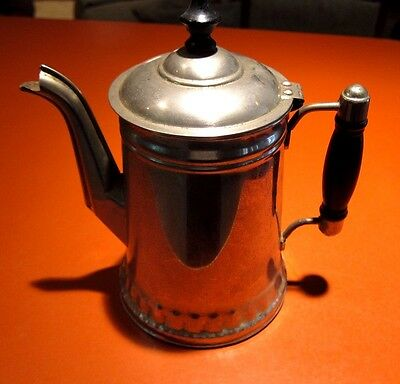 Antique  Brass Tea Kettle - Wood Handle, Rochester Stamping Works, Pot Coffee