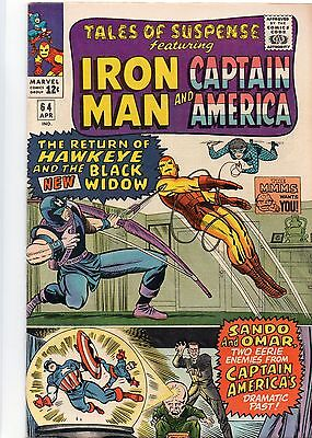 TALES OF SUSPENSE 64- April 1965 - Iron Man & Captain America. Near Mint - (9.0)