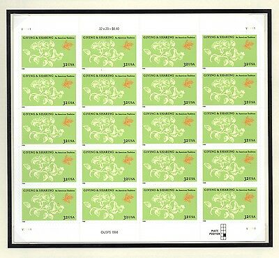 #3243 Giving and Sharing sheet of 20 mint nh stamps. $.32