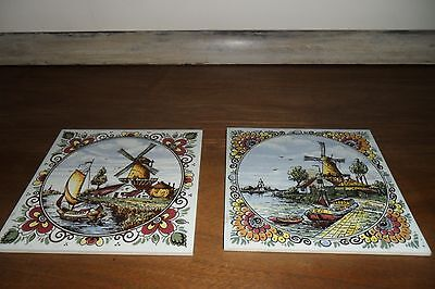 """2 Vintage Handpainted Delft 6"""" x 6"""" Windmill Tiles - Very good condtion."""