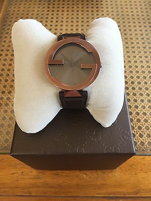 New Gucci Women's Interlocking Steel 37mm Quartz Watch With Brown Leather Strap