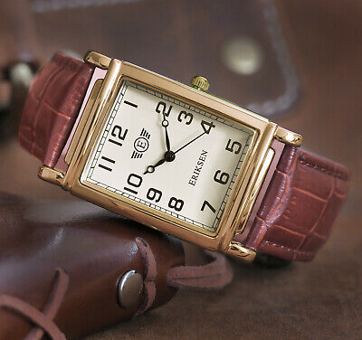 Eriksen Mens Gold Rectangular Analog Vintage Retro Dress Watch MCG