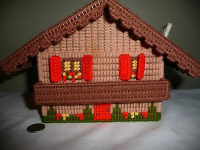 """Vtg. Swiss Cottage Hand Made Jewelry  Music Box~ Plays """"Edelweiss"""" Plastic Art"""