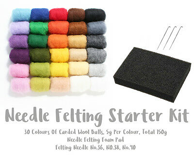 Needle Felting Starter Kit | Wool Batts 150g | Felting Foam | 3 Felting Needles