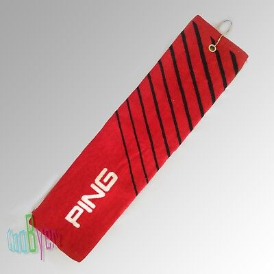 PING Red Black Stripes Golf Bag Cart Tri-Fold Towel Grommets and Free Metal Clip