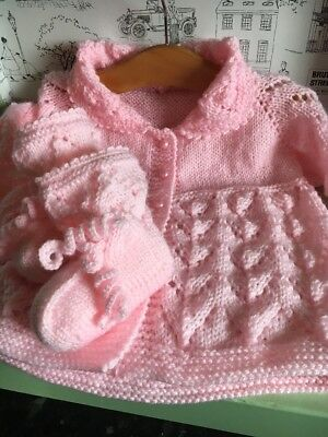 Hand Knitted Baby Coat/Cardigan and Booties Set 9-12 Months