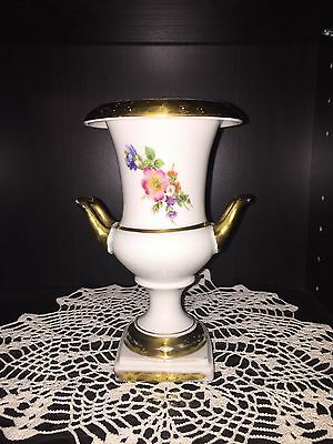 Very Rare Kaiser Urn Vase With Gold Trim And Beautiful Flowers Germany