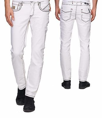 wow wei e herren jeanshose wow white denim dicke naht stretch slim fit 038 34 32 eur 24 90. Black Bedroom Furniture Sets. Home Design Ideas
