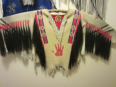 Native American style War shirt with quilled & beaded strips