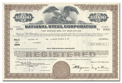 National Steel Company Bond Certificate