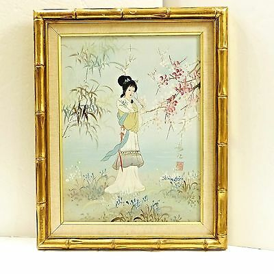 Vintage Man Ling Cherry Blossom Woman Bamboo Style Framed Original Oil Painting