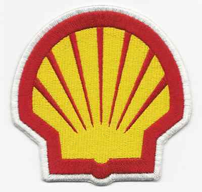 Shell Oil Gas Racing Patch 4 Inches Long Size New Shell Shape Iron On US Seller