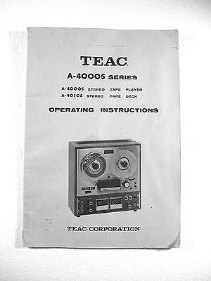 One New Copy Teac A-4000S Reel To Reel Tape Deck Recorder Owner's Manual