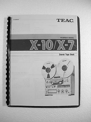One New Copy Teac X-10/x-7 Reel To Reel Tape Deck Recorder Owner's Manual
