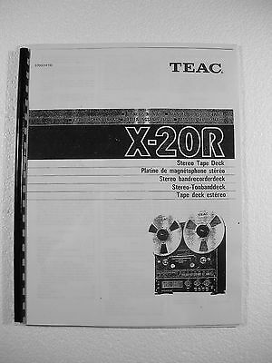 One New Copy Teac X-20R Reel To Reel Tape Deck Recorder Owner's Manual