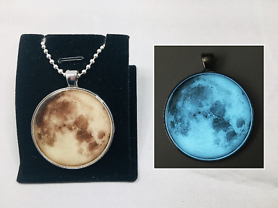 "1.5"" Inch GLOW IN THE DARK FULL MOON Space Universe Charm Pendant Necklace"