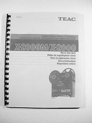One New Copy Teac X-2000/x-2000M Reel To Reel Tape Deck Recorder Owner's Manual