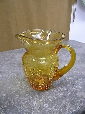 Vintage Amber Hand Blown Crackle Small Glass Pitcher w/Applied Handle