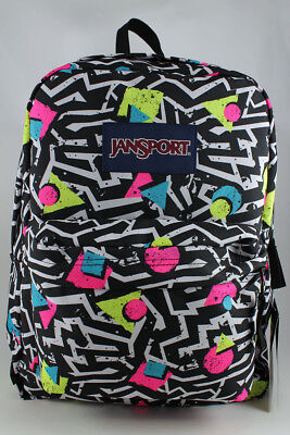 Jansport Superbreak Black/white/pink Beb Retro Backpack School Bag Authentic New