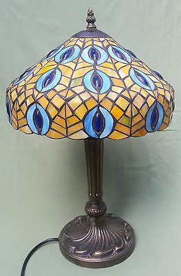 Fine repro Art Nouveau Tiffany Style Lamp with Glazed Shade