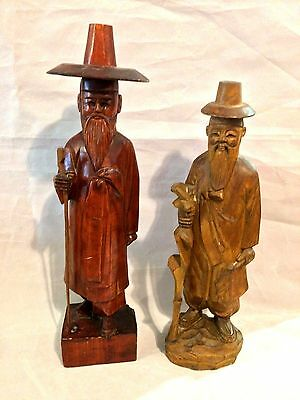 "Set of 2 Vintage Chinese Wooden Hand Carved Old Men Figurines Statues 14"" & 16"""