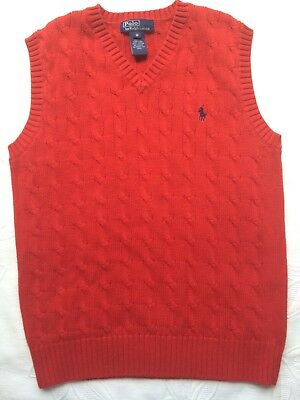 POLO RALPH LAUREN Boy's Cable Knit Sweater Vest V Neck Red Size Med M 10-12