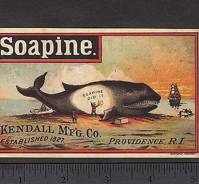 Whale 1800's Whaling Ship Soapine Soap Kendall Providence RI  Advertising Card