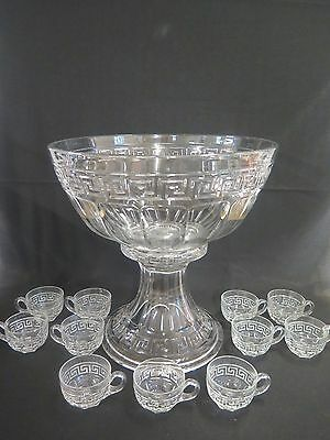 """Heisey """"greek Key"""" Punch Bowl On Pedestal With 11 Cups"""