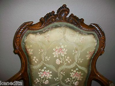 1900 Pair Antique French 2 Chairs Victorian Regency Parlor Fauteuil Louis XVII