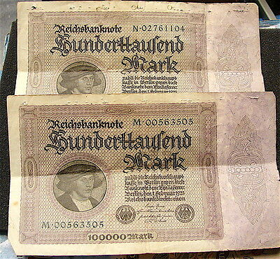 1923~~German 100,000 Mark Currency notes----2 Large notes,,,Heavy Wear