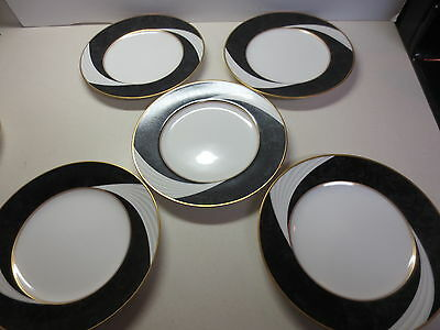 Nice lot of five Noritake Traditions 2000 Alyssa Gold 8 1/4 inch saucers #7809