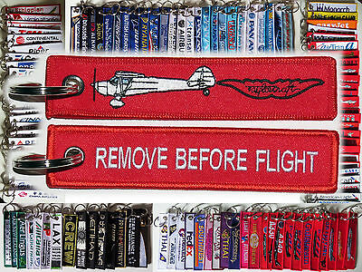 Keyring TAYLORCRAFT in red Remove Before Flight keychain for Pilots