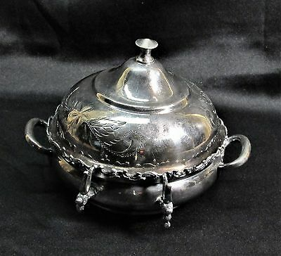 Vintage Domed Butter Dish  Columbia Silver CO. Quadruple