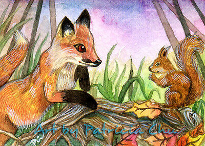 "ACEO LE Art Card Print 2.5""x3.5"" "" Baby Fox And Squirrel "" Art by Patricia"