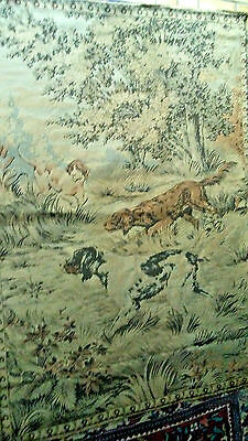 """Antique French Tapestry Hunting Dogs 50 x 68"""""""