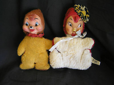 2 Vintage Rubber Face Toys Columbia Toy Music Box Crib Doll WORKS!