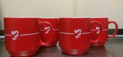 Lot of 4 Rare Frisch's Red & White Coffee Mugs.New Never Used.